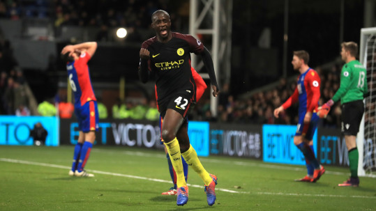 Manchester City's Yaya Toure celebrates scoring his side's second goal of the game during the Premier League match at Selhurst Park, London.