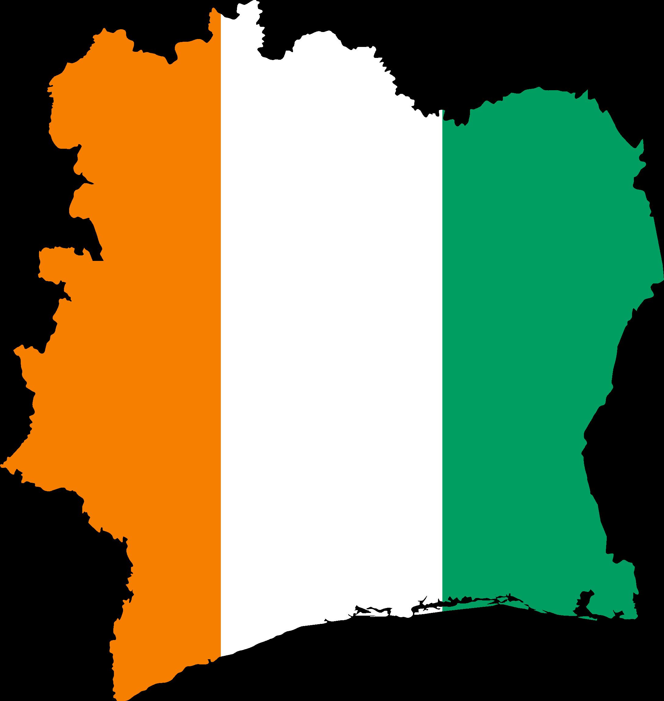 Ivory-Coast-Flag-Map